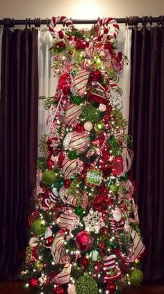 Red, white and green Christmas tree