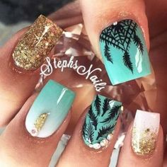 33 Ideas with Dream Catcher Nail Art Crazy Nail Designs, Fall Nail Designs, Acrylic Nail Designs, Acrylic Nails, Cute Nail Art, Cute Nails, Dream Catcher Nails, Dream Catchers, Nailart