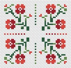 Simple motif cross stitch pattern with decorative red flowers, which can also be used for biscornu,borders, cards and more.