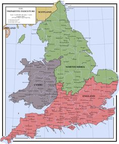 This is a map showing the terms of the Tripartite Indenture, a historical agreement between Owain Glyndwr, Edmund Mortimer and Henry Percy, the Earl of . The Tripatite Indenture 1405 Uk History, British History, Ancient History, European History, Map Of Great Britain, Welsh Language, Medieval, England Map, Alternate History