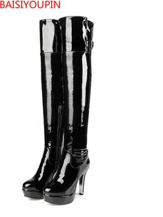 High Heels Over The Knee Sexy Boots Drag Queen Nightclub Plus Wedding Shoes Leather Boots Pole Dance Boot Custom Size Code 30-48 #WinterWedding