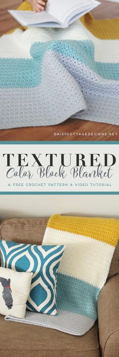 Use this free crochet blanket pattern from Daisy Cottage Designs to create a color block blanket for your next project. Video tutorial & chart included. | color block crochet blanket, Daisy Cottage Designs crochet pattern, blanket crochet pattern free, easy crochet blanket pattern, crochet tutorial