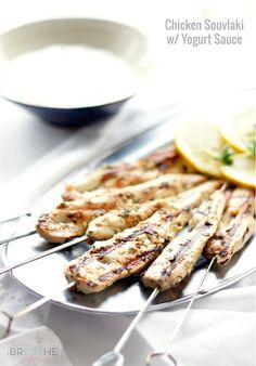 This Grilled Chicken Souvlaki with Yogurt Sauce is fast and easy to make, leaving you lots of time to spend outdoors relaxing this Summer! Low carb, keto, Paleo, and Atkins diet friendly. Atkins Recipes, Ketogenic Recipes, Keto Recipes, Cooking Recipes, Healthy Recipes, Party Recipes, Picnic Recipes, Yogurt Recipes, Dessert Recipes