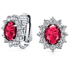 Bling Jewelry Christmas Gifts Oval Cz Bridal Clip On Earrings Crown... (81 BRL) ❤ liked on Polyvore featuring jewelry, earrings, red, round earrings, cubic zirconia earrings, clip earrings, cz stud earrings and round stud earrings