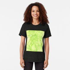 'Green Dandelion ' Tri-blend T-Shirt by Niina Niskanen Green Art, Vintage Looks, Female Models, Soft Fabrics, Dandelion, Shirt Designs, T Shirts For Women, Nature, How To Wear