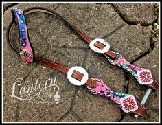 Custom ordered watercolors leather headstall