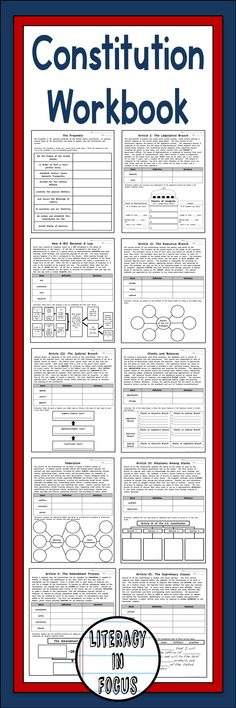 A page for each aspect of the US Constitution. Constitution workbook with informational text, vocabulary support, and graphic organizer. #constitution #workbook #ushistory