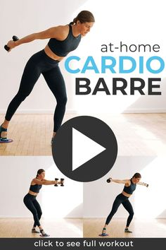 A challenging, full body glider workout! You can do this 25-minute cardio barre workout with exercise sliders, hand towels (on a hard surface), or paper plates (on carpet). This slider workout burns calories (without jumping) and targets muscles you didn't even know you had -- from arms and legs, to all the small stabilizing muscles in your core! A FULL BODY slider workout for your abs, arms and glutes. Cardio Barre, Cardio At Home, Barre Workout, Hiit, At Home Workouts, Body Workouts, Glider Workout, Slider Exercises, Yoga Sculpt