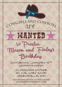 Cowgirl Invitation by Cupcakes and Lemonade