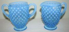 Fenton Blue Opalescent Hobnail Creamer and Sugar w partial Fenton label, MINT SOLD $9.99 + 6.43 sh