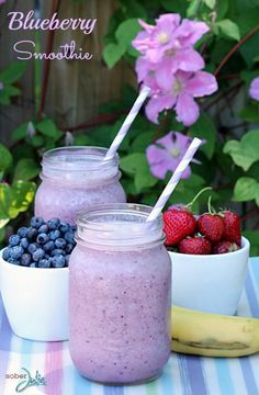 Blueberry Smoothie Recipe, looks delicious! Love smoothies for a healthy kids snack idea..
