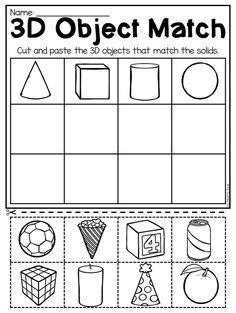 Matching 3D objects worksheet for kindergarten. This packet is jammed full of worksheets to help your students practice 2D and 3D shapes. It includes 31 engaging worksheets which allow students to practice composing 2D and 3D shapes, identifying 2D and 3D shapes, naming 2D and 3D shapes, comparing 2D and 3D shapes to real life objects, discriminating between 2D and 3D shapes and so much more! It is perfect for whole-class activities, math stations, fast finisher activities, homework and…
