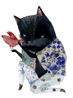 cat and bird -  illustration by Julie Van Wezemael