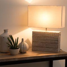 Mangohouten LAGON lamp met stoffen lampenkap H 32 cm