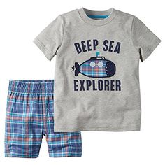Carters Baby Boy 2Piece Tee  Short Set 6 Months Grey >>> Check out the image by visiting the link.