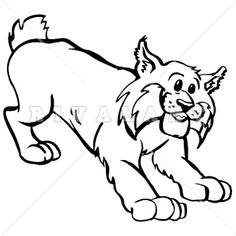 Mascot Clipart Image of Black White Wildcats Bobcats Graphic ...
