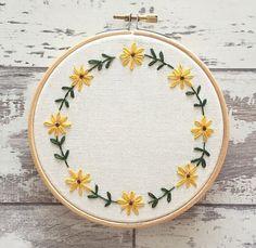 Custom Embroidery Hoop Yellow Flowers - Personalised Wall Art - Personalised Embroidery Gift - Sunflower Embroidery Hoop - Home Decor Gift