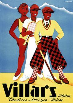 Villars Swiss Vintage Travel & Resort Posters and Prints Lausanne, Ski Club, Elegant Couple, Travel Ads, Poster Prints, Art Prints, Young Couples, My Heritage, Vintage Travel Posters