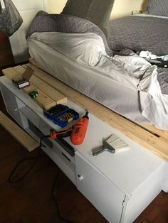 how to build a queen japanese style platform storage bed, Boarding it all up