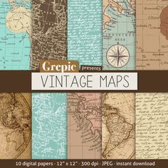 "Vintage maps digital paper: ""VINTAGE MAPS"" with vintage & antique maps of europe, america and the world for scrapbooking, invites, cards"