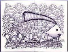Fish using Hairy zentangle