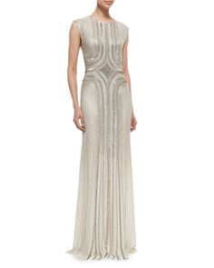 Sleeveless Round-Neck Sequin Gown, Fawn by Jenny Packham at Neiman Marcus.