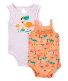 Take a look at this Baby Starters White & Orange Flamingo Bodysuit Set - Infant today!