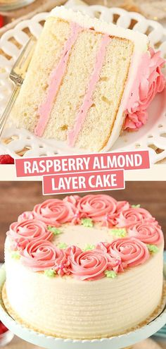 This Raspberry Almond Layer Cake has three layers of moist, fluffy almond cake filled with fresh raspberry frosting. It& such a pretty cake and it tastes even better than it looks! Köstliche Desserts, Delicious Desserts, Dessert Recipes, Cupcake Recipes, Cupcakes, Cupcake Cakes, Sweets Cake, Mini Cakes, Oreo Dessert