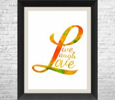Live Laugh Love Poster Print 11 x 14 Typographic by ANYPRINT
