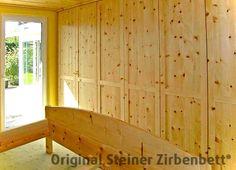 Zirbenholz-schrankwand Aus Massivholz, Offene Regale ... Schlafzimmer Zirbenholz