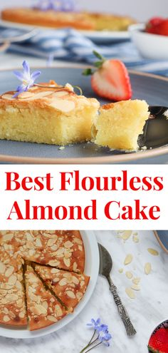 Delicious and ready in no time, this flourless almond cake has the moist and chewy inside and a crispy outside. Topped with golden sliced almonds, this is a perfect quick recipe that is also absolutely yummy! Easy Almond Cake Recipe, Easy Cake Recipes, Cupcake Recipes, Easy Desserts, Delicious Desserts, Flourless Almond Cake Recipe, Almond Meal Cake, Gluten Free Almond Cake, Quick Dessert Recipes