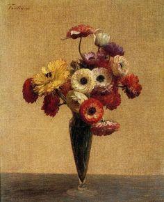 "Henri Fantin Latour  ""Anemones and Buttercups"""