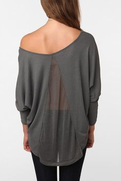 Slate gray top with pretty back detail.