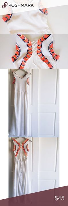 """Romeo+Juliet Couture Embroidered Linen Maxi Dress Stunning summer dress! Lace up tie open back and embroidery around the arms make this Romeo + Juliet Couture Maxi a must have!! 🚫 No retail tag. Only the brand and info tag. 👕100% Cotton 📏Shoulder to Shoulder-14"""" 📏Armpit to Armpit-17"""" 📏Waist-15"""" 📏 Neckline to Hem-52"""" 💖 Every listing purchased enters you in for a monthly gift card giveaway. Romeo & Juliet Couture Dresses Maxi"""