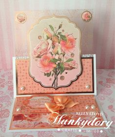 Kelly's Cards: Roses on Rose gold Hunkydory Crafts, Hunky Dory, Easel Cards, Making Cards, Cardmaking, Florals, Card Ideas, Chloe, Birthday Cards