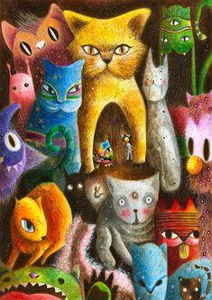 IN MOORISH GARDEN CAT MAGNET CHAT LOUIS WAIN KATZE