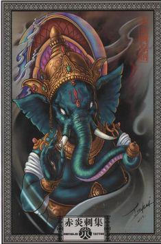 Chiyanci tattoo Ganesh Tattoo, Hindu Tattoos, Chinese Tattoo Designs, Japanese Tattoo Art, Tattoo Drawings, Art Drawings, Subtractive Color, Paradise Tattoo, Ganesha Painting