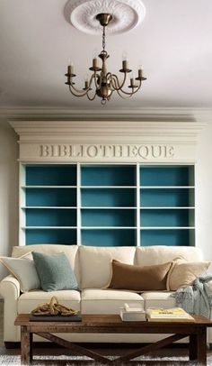 A bookcase built in my living room would be pretty awesome . like the look of it being a wall! Living room - Eclectic - Living room - Photos by Anna Melnikova Interiors Eclectic Living Room, Formal Living Rooms, My Living Room, Home And Living, Design Eclético, House Design, Design Ideas, Clean Design, Style At Home