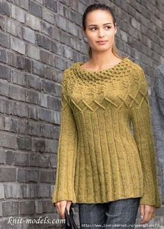 Vogue Knitting, Hand Knitting, Hand Knitted Sweaters, Sweater Knitting Patterns, Knit Patterns, Crochet Designs, Knitting Designs, Handgestrickte Pullover, Crochet Skirt Pattern