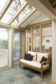 Small glazed oak sun room in Tin house on Dartmoor