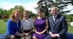 yoursweetremedy:  Princess Beatrice and Princess Eugenie with their parents Sarah, Duchess of York, and the Duke of York