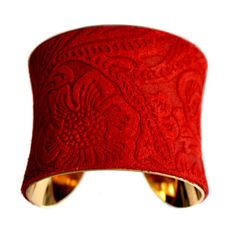 Bright Red Embossed Floral Suede Cuff Bracelet  in by UNEARTHED, $60.00