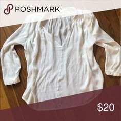 White polyester blouse White silky polyester blouse dRA los angelos Tops Blouses