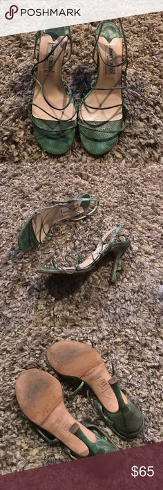 Jimmy Choo heels Jimmy Choo green and brown strapped heels 4 inch heel in god condition with some wear on sole. Jimmy Choo Shoes Heels