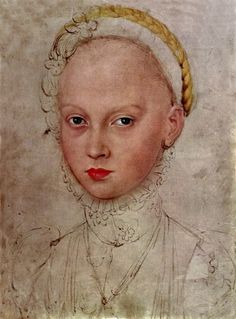 Study for a portrait of Princess Elizabeth of Saxony by Lucas Cranach the Younger.