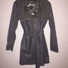 100% Genuine Leather Gray Trench Coat