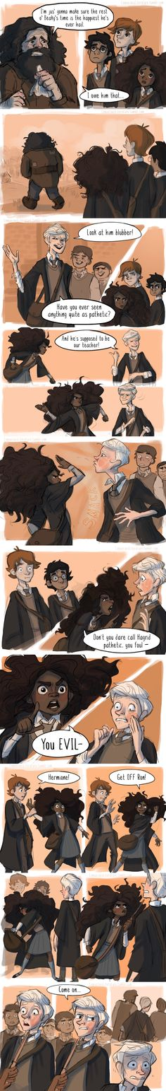 """Nobody bad-mouths Hagrid on Hermione's watch! ᕙ( •̀ʖ•́ )୨ (Thank you to lizmaryr and zexionlikesmuffins for suggesting this glorious scene from the Prisoner of Azkaban!)"""