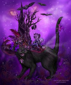 magine a goth cat wearing a witches hat as tall as a tree with skeletons blood red jewels dragons so creepy and even a hanging bat how scary is that!  Cat In Goth Witch Hat prose by Carol Cavalaris  This digital artwork of a vampire goth black cat wearing a very tall witches hat decorated with jewels, a crystal ball, feathers, dragons, and a tall skeleton tree with a hanging bat, is from the Cats In Fancy Hats collection of art by Carol Cavalaris.
