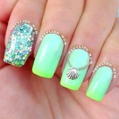Neon sea nail art with a glitter accent nail