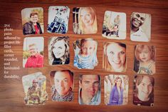 Great gift idea from Becky Higgins! Print 3x4 photos (you can do this easily at the Memory Lab!) and adhere to plain 3x4 cards to create a photo memory game for the kids. Or, try it with Instagram prints with patterned paper on the back!
